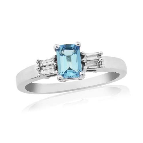 White gold baguette cut aquamarine and diamond ring